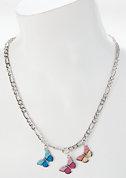Silver Butterfly Trio Chain Necklace