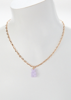 Lavender Gummy Bear Charm Necklace