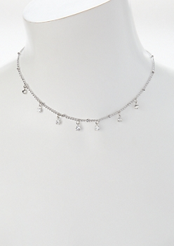 Silver Rhinestone Charm Necklace