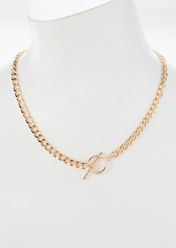 Gold Toggle O-Ring Chain Necklace