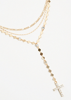 Gold Three Layer Diamond Cross Necklace