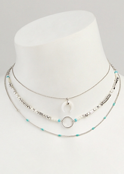 3-Pack Silver Turquoise Bead Choker Set