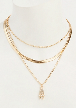 2-Pack Gold Layered Plug Necklace Set