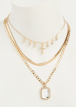 3-Pack Gold Layered Cross Charm Necklace Set