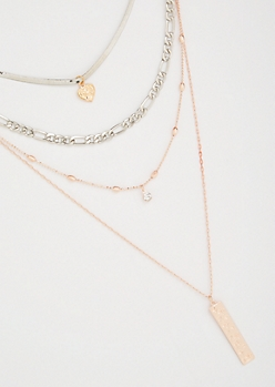 3-Pack Mixed Chain 3 Layer Necklace Set