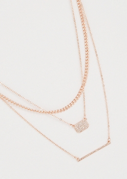 Rose Gold Three Layer Gemstone Bar Necklace