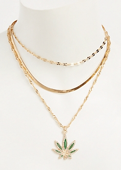 2-Pack Gold Layered Weed Leaf Necklace Set