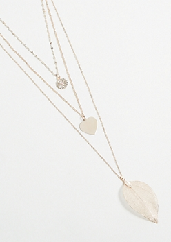 Rose Gold Leaf Layered Necklace