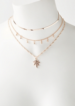 3-Pack Rose Gold Weed Leaf Necklace Set