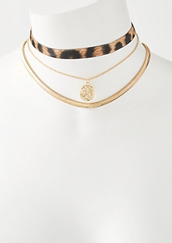 3-Pack Gold Leopard Fur Coin Choker Necklace Set