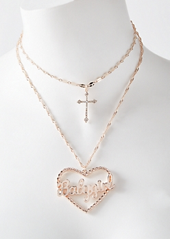 Rose Gold Baby Girl Heart Layered Necklace