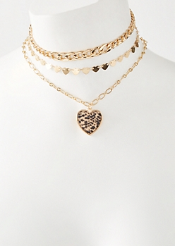 3-Pack Gold Snakeskin Print Heart Choker Necklace Set