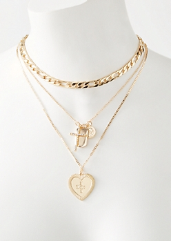 Gold Heart Charm Layered Necklace