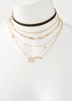 5-Pack Velvet Snake Cross Choker Necklace Set