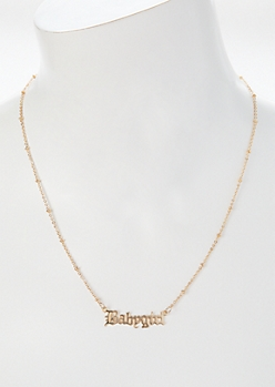 Gold Gothic Baby Girl Script Necklace