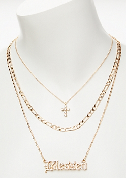 3-Pack Gold Blessed Layered Necklace Set