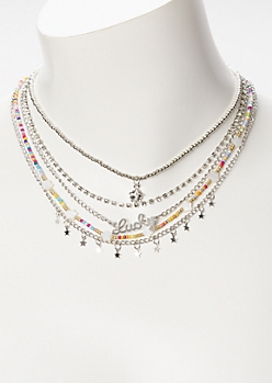 5-Pack Silver Bead Lucky Star Necklace Set