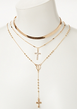 3-Pack Gold Cross Layered Necklace Set