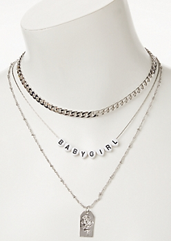 3-Pack Silver Baby Girl Layered Necklace Set