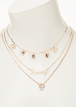 3-Pack Rose Gold Honey Layered Necklace Set