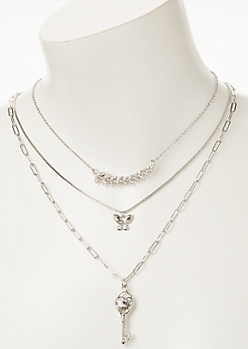 3-Pack Silver Key Layered Necklace Set