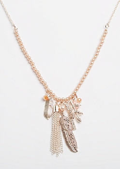 Rose Gold Feather Cluster Faux Pearl Necklace