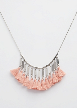 Silver Rose Tassel Necklace