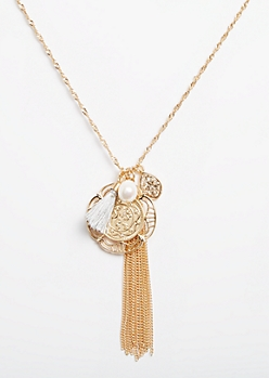 Gold Coin & Faux Pearl Cluster Necklace