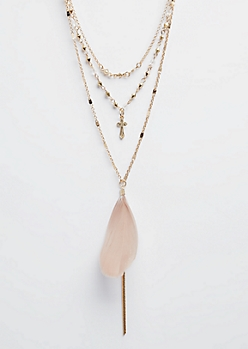 Gold Feather & Small Cross Layered Necklace