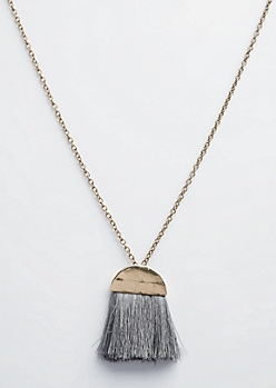 Golden Gray Tassel Long Pendant Necklace