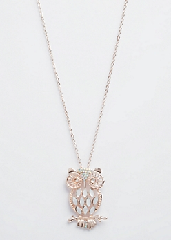 Rose Gold Pearlescent Owl Necklace