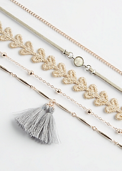 5-Pack Rose Gold Tassel & Crochet Necklace Set