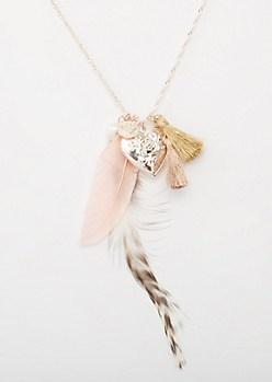 Rose Gold Feather and Locket Cluster Necklace