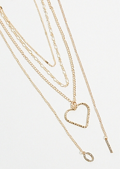 Gold Heart Pendant Layered Necklace