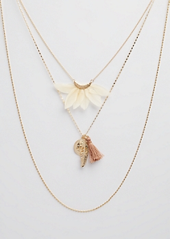 3-Pack Gold Feather and Tassel Necklace Set