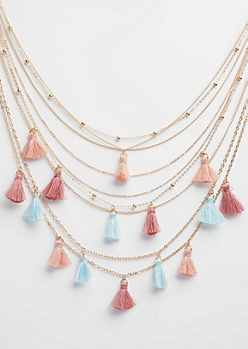 Gold Multi Tassel Layered Necklace