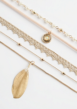 5-Pack Gold Feather & Crochet Necklace Set