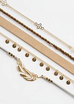5-Pack Gold Feather & Floral Necklace Set
