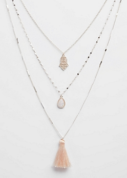 Rose Gold Hamsa & Tassel Layered Necklace