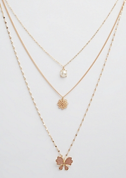 Gold Pearl & Butterfly Layered Necklace