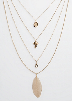 Antique Gold Feather & Elephant Layered Necklace