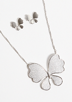 2-Pack Silver Butterfly Necklace and Earring Set