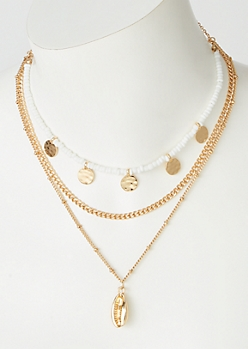 2-Pack Gold White Bead Puka Chain Set