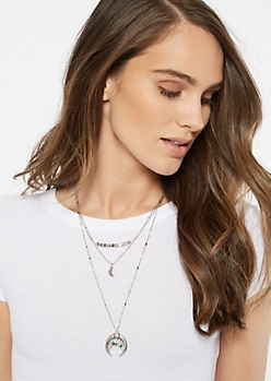 Silver Charm Bull Ring Layered Necklace