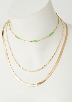 2-Pack Gold Green Bead Chain Set