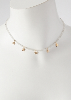 Gold Mini Star Charm Bead Choker Necklace