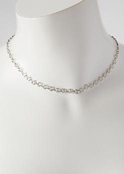 Silver Mini Star Chain Choker Necklace
