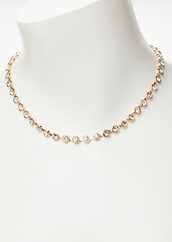 Gold Rhinestone Choker Necklace
