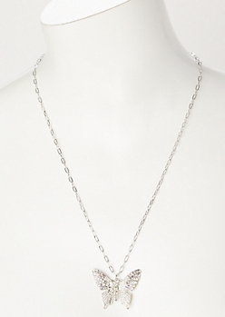 Silver Rhinestone Butterfly Pendant Necklace