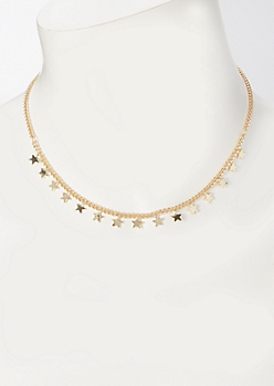 Gold Micro Star Charm Necklace